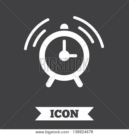 Alarm clock sign icon. Wake up alarm symbol. Graphic design element. Flat alarm symbol on dark background. Vector