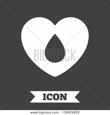 Blood donation sign icon. Medical donation. Heart with blood drop. Graphic design element. Flat blood symbol on dark background. Vector