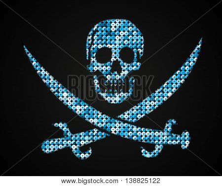 Silhouette of a skull and crossbones of the shop on a dark background.