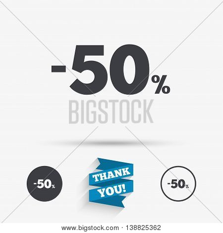 50 percent discount sign icon. Sale symbol. Special offer label. Flat icons. Buttons with icons. Thank you ribbon. Vector