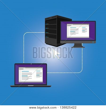 remote access computer and laptop vector illustration design