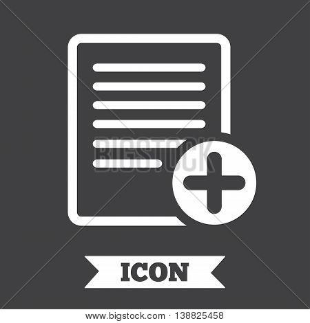 Text file sign icon. Add File document symbol. Graphic design element. Flat doc symbol on dark background. Vector