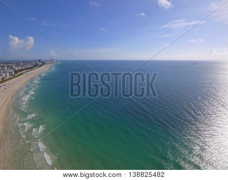 Aerial image of the beach Miami USA
