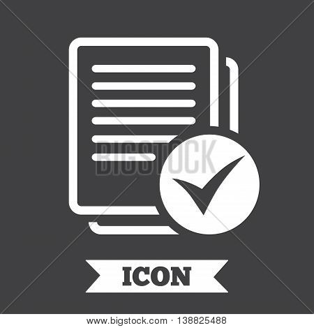 Text file sign icon. Check File document symbol. Graphic design element. Flat file symbol on dark background. Vector
