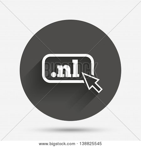 Domain NL sign icon. Top-level internet domain symbol with cursor pointer. Circle flat button with shadow. Vector