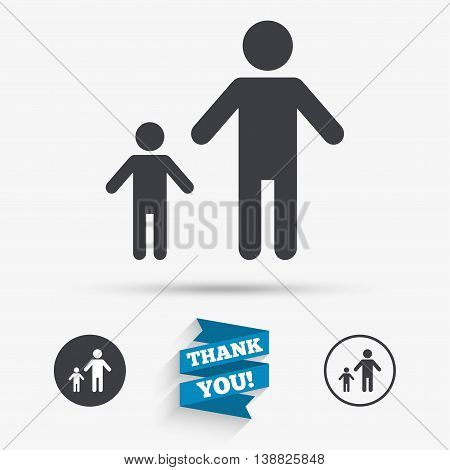 One-parent family with one child sign icon. Father with son symbol. Flat icons. Buttons with icons. Thank you ribbon. Vector