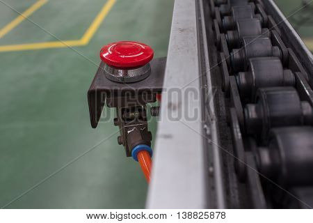 button start - stop conveyor line and emergency button
