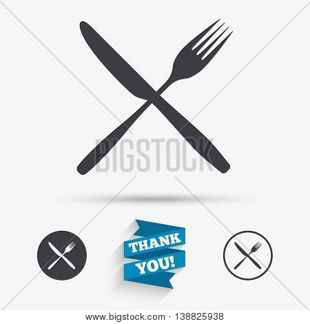 Eat sign icon. Cutlery symbol. Fork and knife crosswise. Flat icons. Buttons with icons. Thank you ribbon. Vector