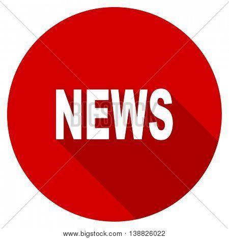 news vector icon, red modern flat design web element