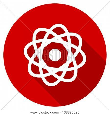 atom vector icon, red modern flat design web element