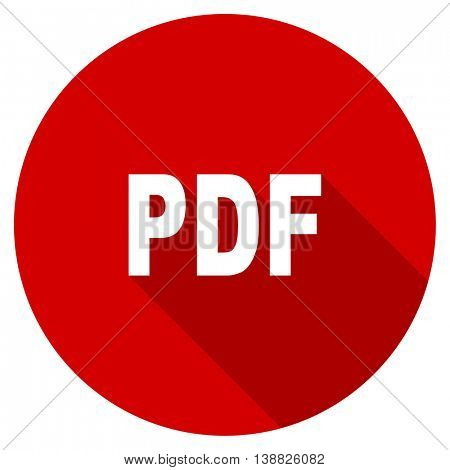 pdf vector icon, red modern flat design web element