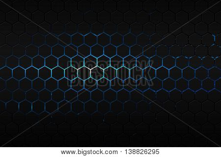 black hexagon and blue neon light background and texture