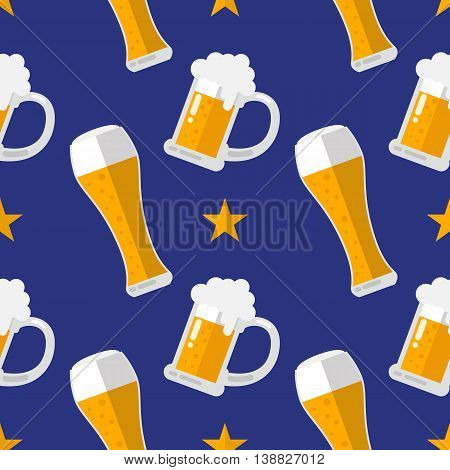 Glass of beer flat seamless pattern. Vector Illustration