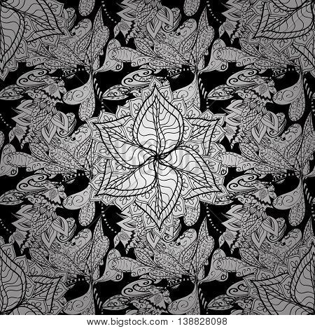 Seamless vintage pattern on black background with white elements.