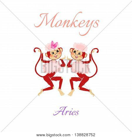 Funny Horoscope With Cute Monkeys. Zodiac Signs. Aries. Vector Illustration.