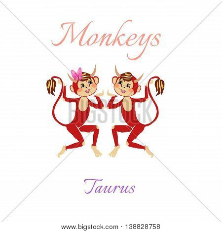 Funny Horoscope With Cute Monkeys. Zodiac Signs. Taurus. Vector Illustration.