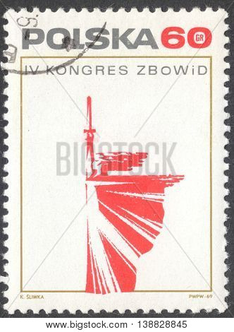 MOSCOW RUSSIA - CIRCA JANUARY 2016: a post stamp printed in POLAND devoted to the Fourth Congress of Polish Fighters for Freedom circa 1969