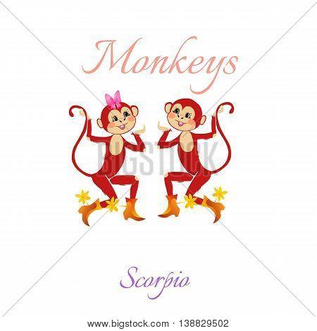 Funny Horoscope With Cute Monkeys. Zodiac Signs. Scorpio. Vector Illustration.