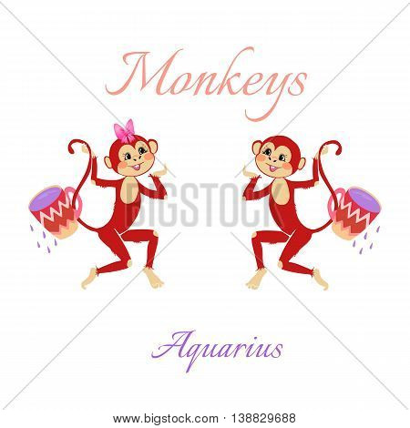 Funny Horoscope With Cute Monkeys. Zodiac Signs. Aquarius. Vector Illustration.