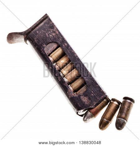 Old Handgun Magazine With Bullets