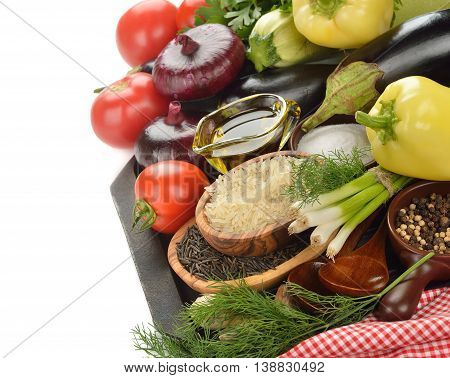 Various vegetables on a white background close up