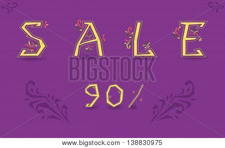 Inscription Sale. Ninety percents. Delicate letters with floral decor. Artistic font. Illustration
