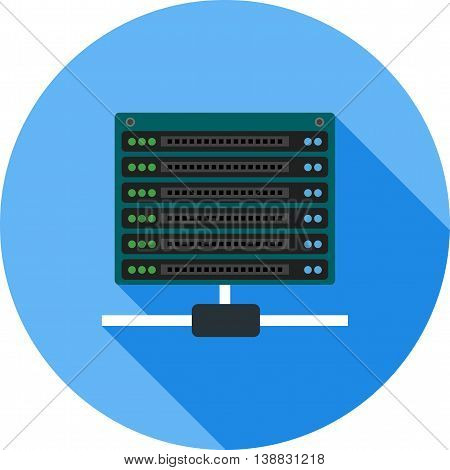 Servers, data, technology icon vector image.Can also be used for data sharing. Suitable for mobile apps, web apps and print media.
