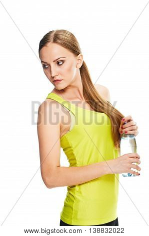 Fitness woman. Blonde with bottle of water on white background.