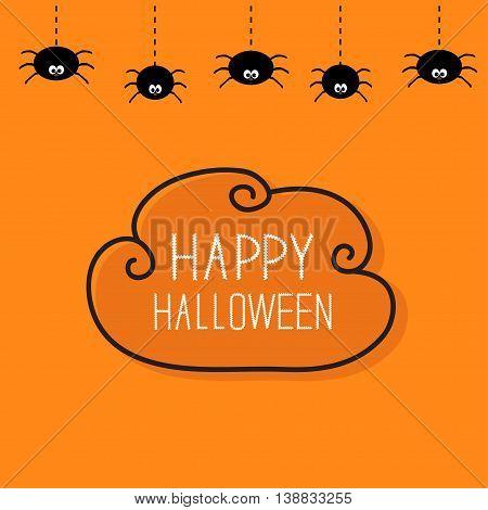 Hanging black spiders on dash line web. Contour cloud frame. Happy Halloween card. Cute cartoon baby character set. Flat material design. Orange background. Vector illustration
