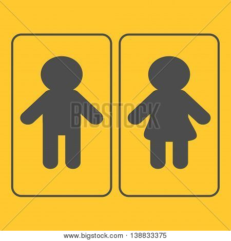 Male Female sign in rectangular line frame. Man and Woman gender icon. Restroom symbol Isolated Yellow background Flat design. Vector illustration