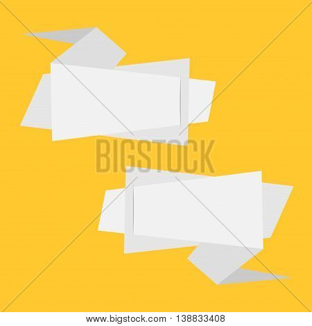 Origami paper banner set. Abstract geometric price tag sticker. Yellow background. Isolated. Flat meterial design style. Vector illustration