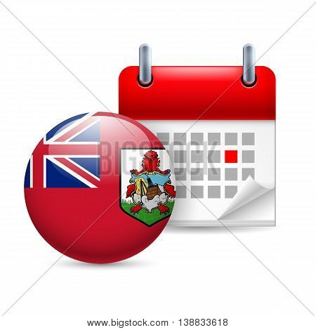 Calendar and round Bermudian flag icon. National holiday in Bermuda