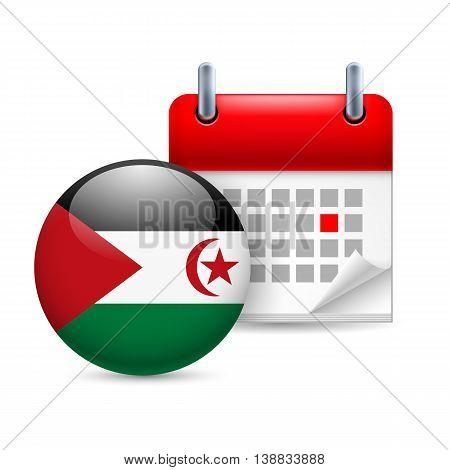 Calendar and round flag icon. National holiday in Sahrawi Arab Democratic Republic