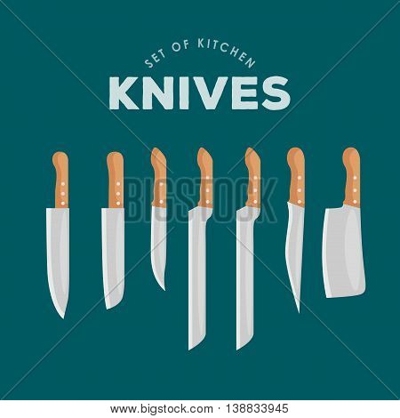 Steel kitchen household cutlery Set. Kitchen Knives Vector illustration. kitchenware icons vector set, cooking equipment, cartoon kitchen utensil, domestic cooking tools, steel kitchen household