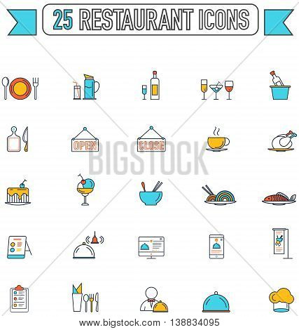 Flat line color food beverage and restaurant graphic sign and symbol icon collection set create by vector