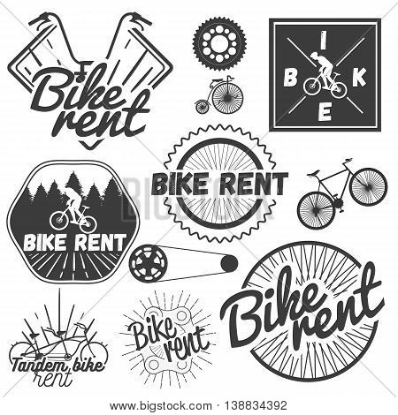 Vector set of bicycle labels in vintage style. Design elements, icons, logo, emblems and badges isolated on white background. Bike rent shop.