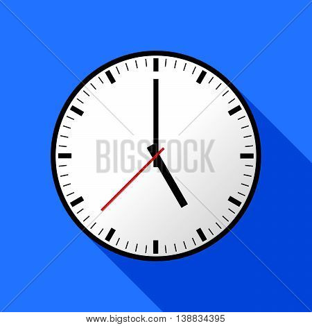 Clock icon, Vector illustration, flat design. Easy to use and edit. EPS10. Blue background with shadow.