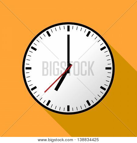 Clock icon, Vector illustration, flat design. Easy to use and edit. EPS10. Orange background with shadow.