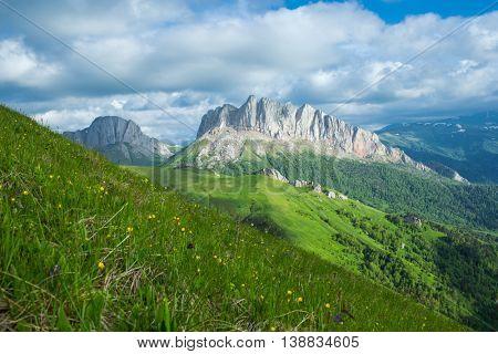 Mountain in Caucasus under blue sky