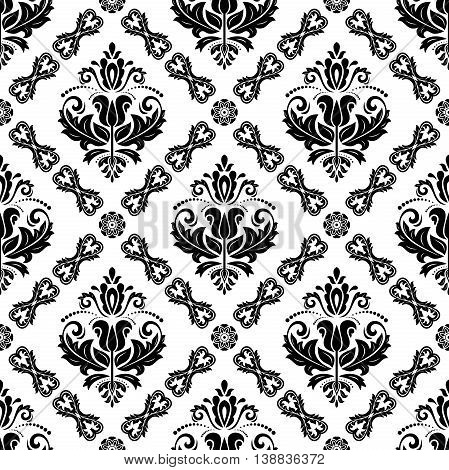 Seamless damask vector pattern. Traditional classic orient ornament. Black and white pattern