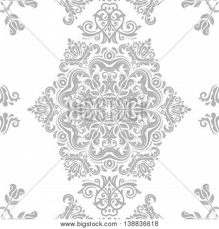 Seamless damask vector pattern. Traditional classic orient ornament. Light silver pattern