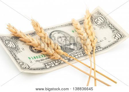 Wheat ears and money