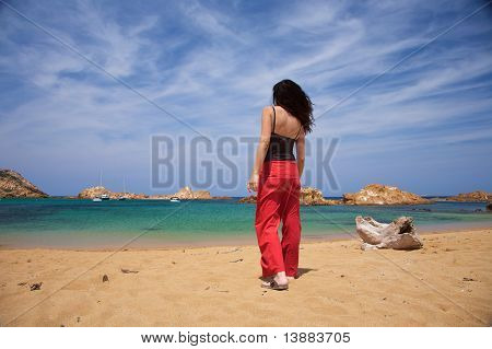 Woman And Trunk At The Beach