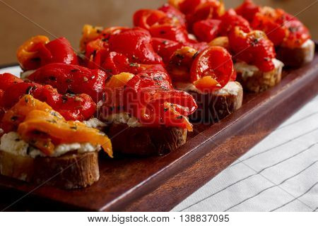 Picture of canape on white background. Macro.