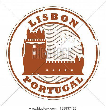 Grunge rubber stamp with Belem Tower and the words Lisbon, Portugal inside, vector illustration