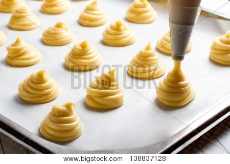 Picture of custard on white background. Macro.