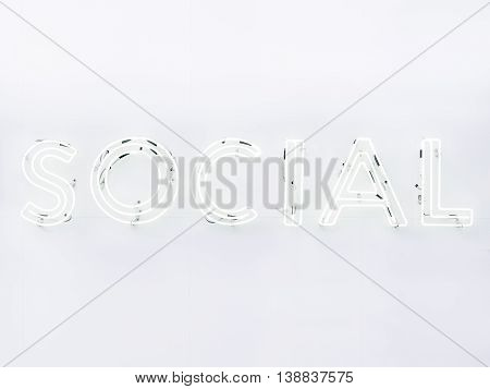 Social Media Type font Neon sign light Signage on wall =