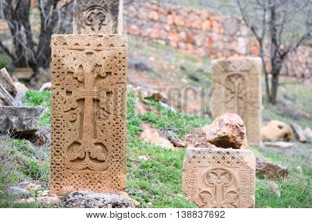 Sacred place at Ancient monastery Noravank in the mountains in Amaghu valley, Armenia. Was founded in 1205.