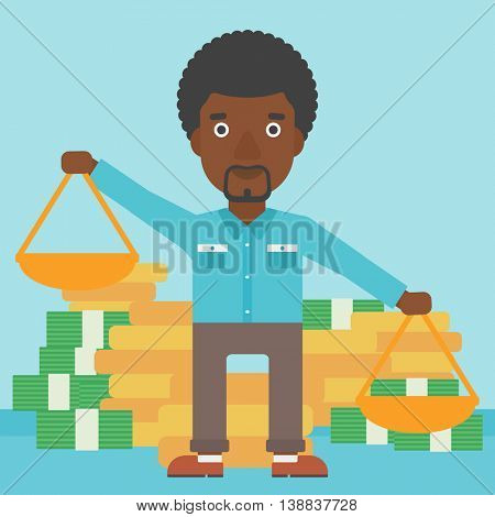 An african-american businessman holding scales in hands on a blue background with stacks of coins. Vector flat design illustration. Square layout.