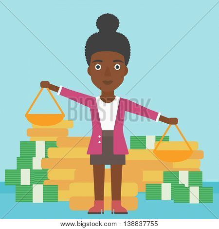 An african-american business woman holding scales in hands on a blue background with stacks of coins. Vector flat design illustration. Square layout.